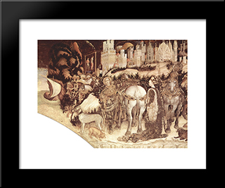 Saint George And The Princess (Detail): Modern Black Framed Art Print by Pisanello