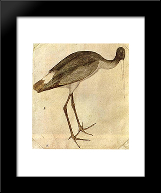 Stork: Modern Black Framed Art Print by Pisanello