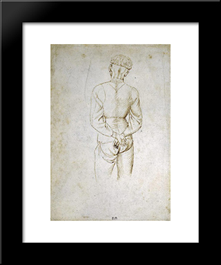 Study Of A Young Man With His Hands Tied Behind His Back: Modern Black Framed Art Print by Pisanello