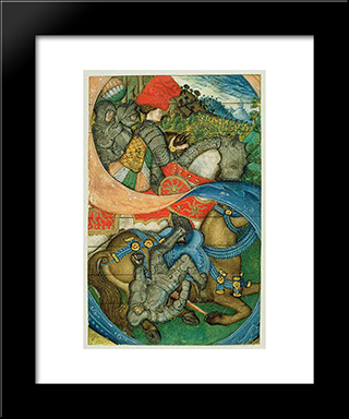 The Conversion Of St. Paul: Modern Black Framed Art Print by Pisanello