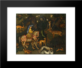 The Vision Of Saint Eustace: Modern Black Framed Art Print by Pisanello