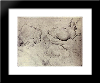 Three Cows: Modern Black Framed Art Print by Pisanello