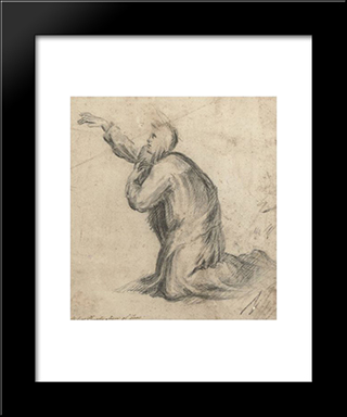 A Kneeling Saint In Nun'S Robes: Modern Black Framed Art Print by Plautilla Nelli
