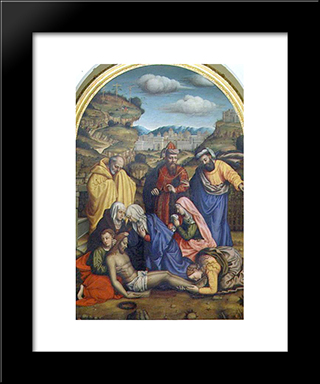 Lamentation With Saints: Modern Black Framed Art Print by Plautilla Nelli