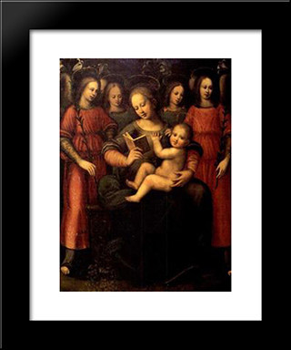 Madonna With Child And Four Angels: Modern Black Framed Art Print by Plautilla Nelli