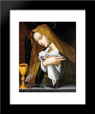 Pained Madonna: Modern Black Framed Art Print by Plautilla Nelli