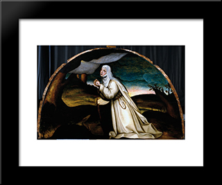 Saint Catherine Receives The Stigmata: Modern Black Framed Art Print by Plautilla Nelli