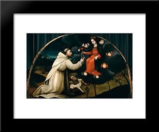 Saint Dominic Receives The Rosary: Modern Black Framed Art Print by Plautilla Nelli