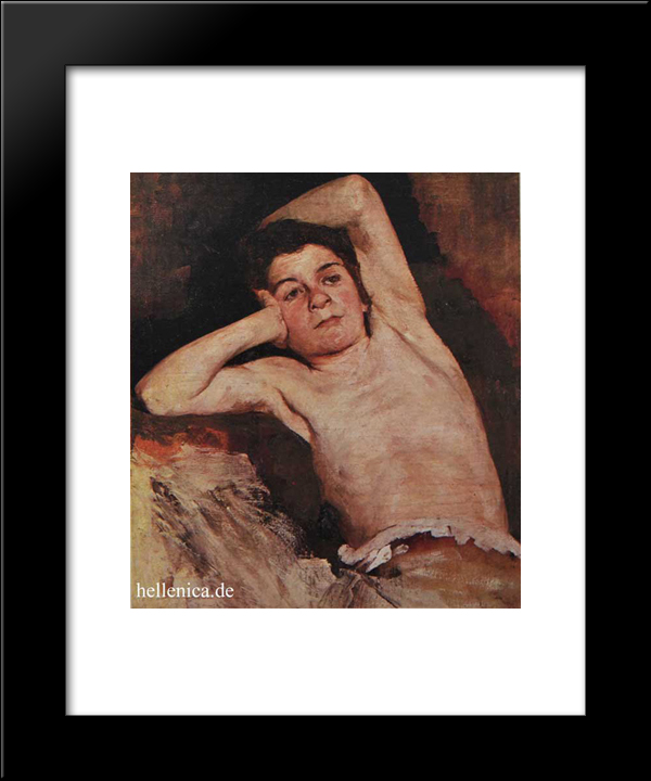 Half-Naked Child: Modern Black Framed Art Print by Polychronis Lembesis