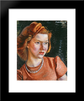 Ann: Modern Black Framed Art Print by Prudence Heward