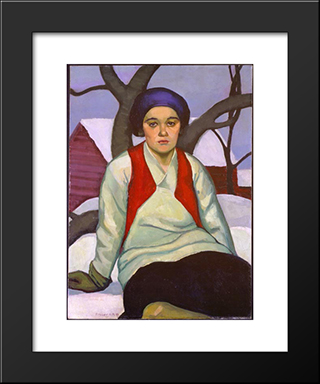 Anna: Modern Black Framed Art Print by Prudence Heward