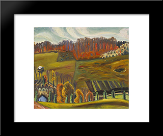 Autumn Fields, Knowlton: Modern Black Framed Art Print by Prudence Heward
