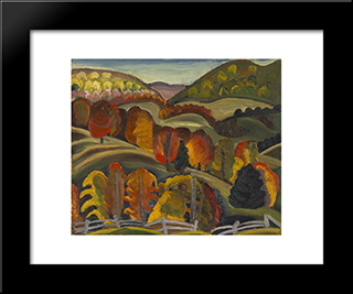 Autumn Hills: Modern Black Framed Art Print by Prudence Heward