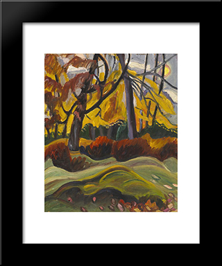 Autumn Landscape: Modern Black Framed Art Print by Prudence Heward