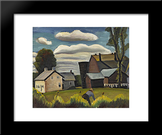 Farm: Modern Black Framed Art Print by Prudence Heward