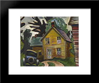 Farmhouse And Car: Modern Black Framed Art Print by Prudence Heward