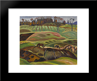 Fields: Modern Black Framed Art Print by Prudence Heward