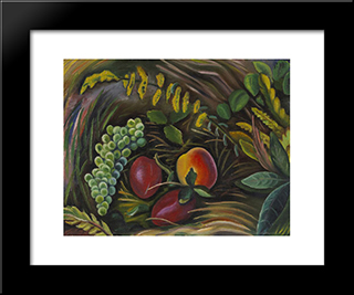 Fruit In The Grass: Modern Black Framed Art Print by Prudence Heward