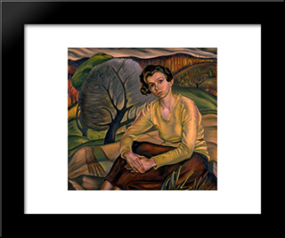 Girl In Yellow Sweater: Modern Black Framed Art Print by Prudence Heward