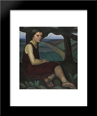 Girl On A Hill: Modern Black Framed Art Print by Prudence Heward