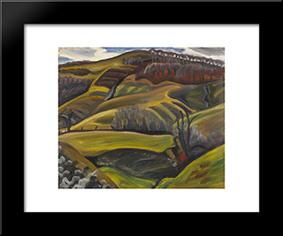 Landscape: Modern Black Framed Art Print by Prudence Heward