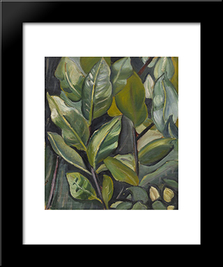 Leaves (Study For Portrait Of Barbara): Modern Black Framed Art Print by Prudence Heward