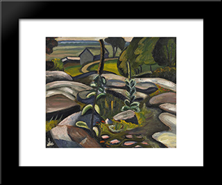 Mulleins And Rocks: Modern Black Framed Art Print by Prudence Heward