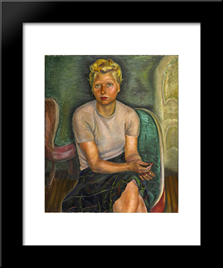 Portrait Of Mrs. Zimmerman: Modern Black Framed Art Print by Prudence Heward