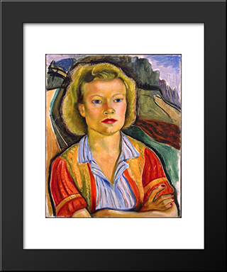 The Farmer'S Daughter: Modern Black Framed Art Print by Prudence Heward