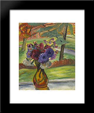 Vase Of Flowers I: Modern Black Framed Art Print by Prudence Heward