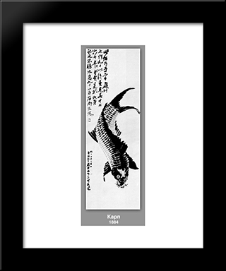 Carp : Custom Black Wood Framed Art Print by Qi Baishi