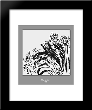 Daffodils : Custom Black Wood Framed Art Print by Qi Baishi