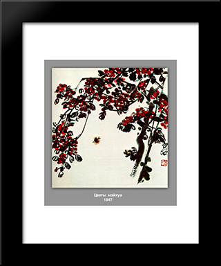 Flowers Meyhua : Custom Black Wood Framed Art Print by Qi Baishi