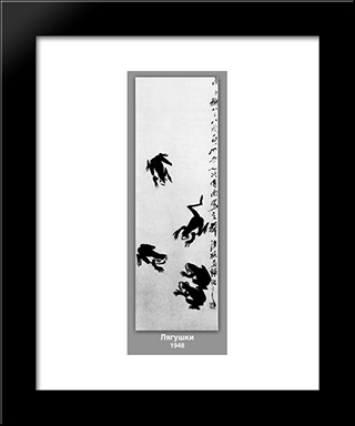 Frogs : Custom Black Wood Framed Art Print by Qi Baishi