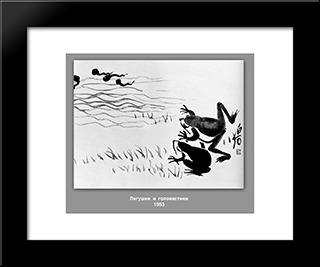 Frogs And Tadpoles : Custom Black Wood Framed Art Print by Qi Baishi