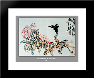 Impatiens And Butterfly : Custom Black Wood Framed Art Print by Qi Baishi