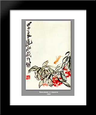 Impatiens And Locusts : Custom Black Wood Framed Art Print by Qi Baishi