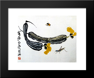 Long Melons: Modern Black Framed Art Print by Qi Baishi