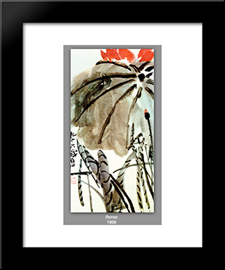 Lotus : Custom Black Wood Framed Art Print by Qi Baishi