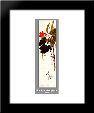 Lotus And Kingfisher : Custom Black Wood Framed Art Print by Qi Baishi