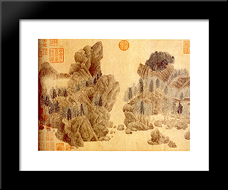 Dwelling In The Floating Jade Mountains: Modern Black Framed Art Print by Qian Xuan