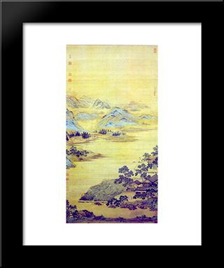 Fisherman Hermit: Modern Black Framed Art Print by Qiu Ying