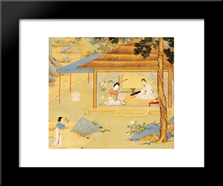Konghou Player In A Pavillion: Modern Black Framed Art Print by Qiu Ying