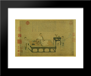 Ni Zan'S Portrait: Modern Black Framed Art Print by Qiu Ying