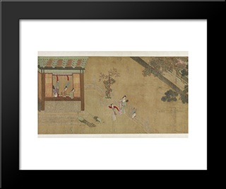 Spring Morning In The Han Palace (View B): Modern Black Framed Art Print by Qiu Ying