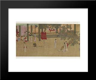 Spring Morning In The Han Palace (View E): Modern Black Framed Art Print by Qiu Ying