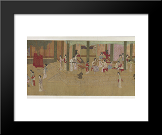 Spring Morning In The Han Palace (View F): Modern Black Framed Art Print by Qiu Ying