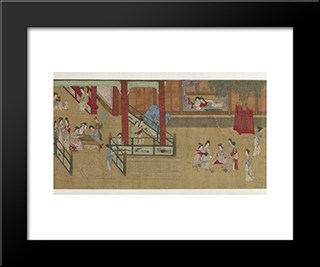 Spring Morning In The Han Palace (View G): Modern Black Framed Art Print by Qiu Ying