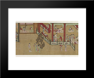 Spring Morning In The Han Palace (View H): Modern Black Framed Art Print by Qiu Ying