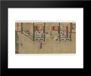 Spring Morning In The Han Palace (View I): Modern Black Framed Art Print by Qiu Ying